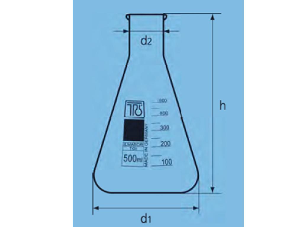 Erlenmeyerkolf glas, 3000 ml, nauwhals