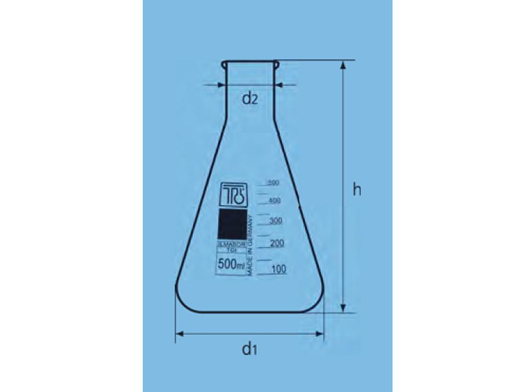 Erlenmeyerkolf glas, 300 ml, wijdhals